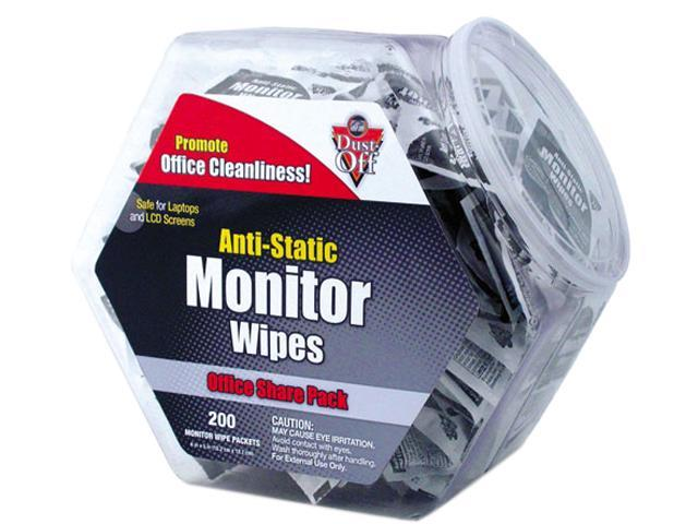 Dust-Off DMHJ Antistatic Monitor Wipes--Office Share Pack, 5 x 6, 200 Individual Foil Packets