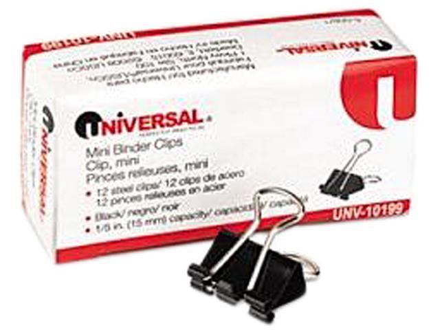 """Office Impressions AA015A-B12 Mini Binder Clips, 1/2"""" W, Black/Silver, 12 Bx/Pk"""