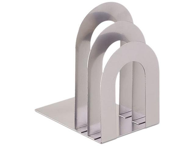SteelMaster 241873R50 Soho Bookend With Curved Corners, 8 1/10 X 7 X 5, Silver