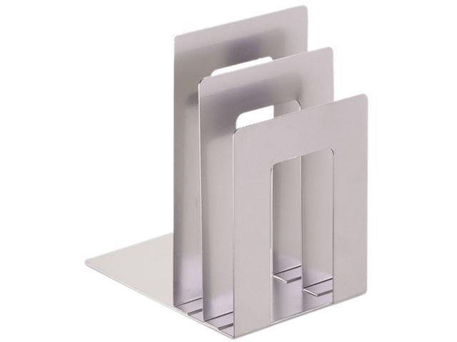 SteelMaster 241873S50 Soho Bookend With Squared Corners, 8 1/10 X 7 X 5, Silver