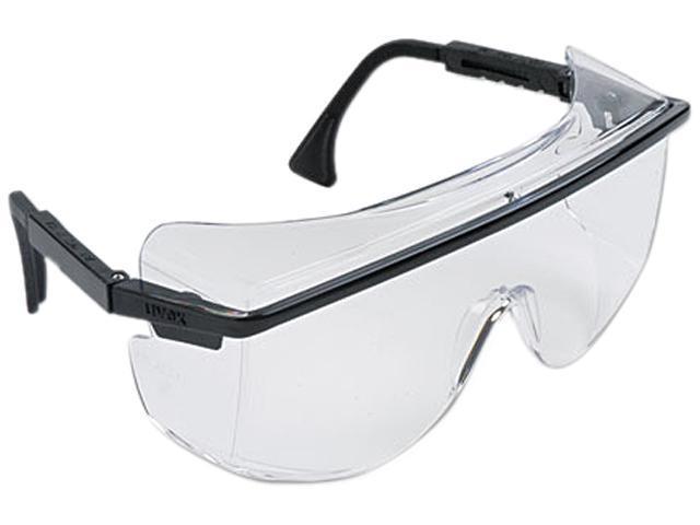 Uvex 763-S2500 Astro OTG 3001 Wraparound Safety Glasses, Black Plastic Frame, Clear Lens