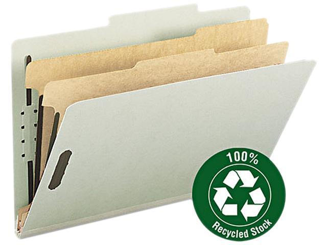 Smead 19022 Gray/Green 100% Recycled Pressboard Colored Classification Folders - 8.50