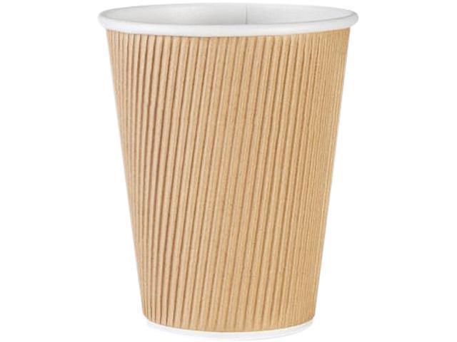 Genuine Joe 11260PK Ripple Hot Cups 12 oz. - 25/Pack – Brown (Lids Sold Separately )
