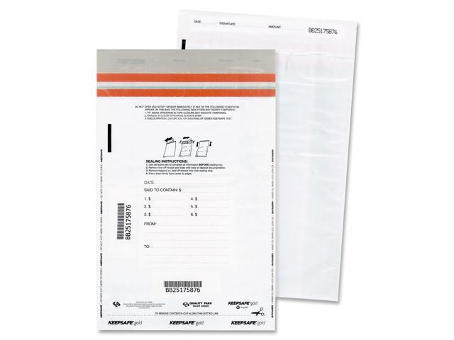 Quality Park 45225 Tamper-Evident Deposit Bags, 9 x 12, White, 100 per Pack