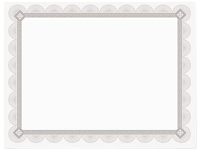 Southworth CTP2W Premium Certificates, White, Spiro Silver Foil Border, 66 lb,  8,5 x 11, 15/Pack