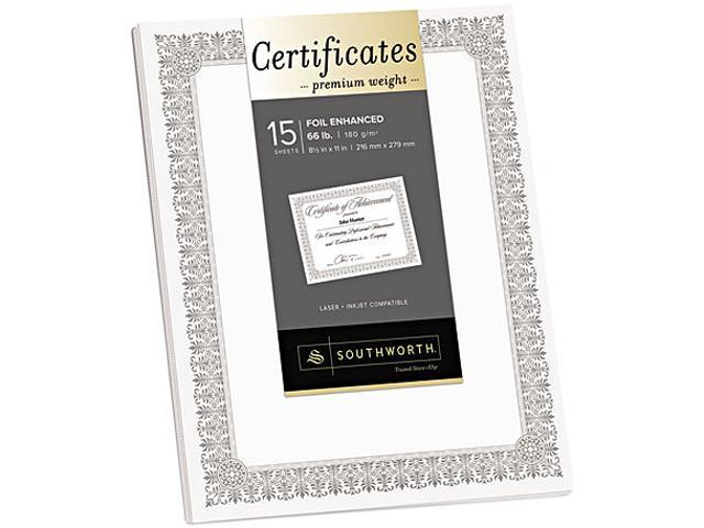 Southworth CTP1W Premium Certificates, White, Fleur Silver Foil Border, 66 lb, 8.5 x 11, 15/Pack