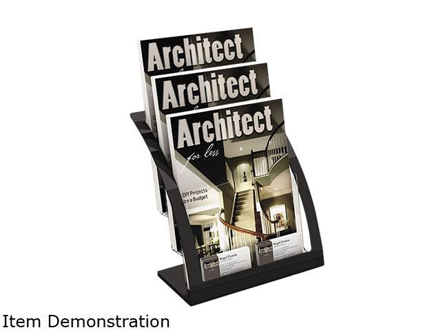 deflect-o 693704 Three-Tier Magazine Holder, 11-1/4w x 6-15/16d x 13-5/16h, Black