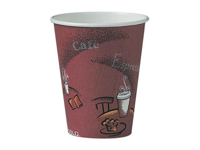 SOLO Cup Company OF8BI-0041 Bistro Design Hot Drink Cups, Paper, 8 oz., Maroon, 500/Carton