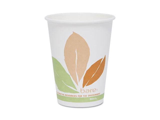 SOLO Cup Company OF12PL-J7234 Bare PLA Hot Cups, White w/Leaf Design, 12 oz., 300/Carton