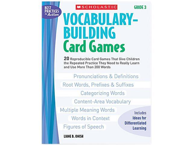 Scholastic 0439554667 Vocabulary Building Card Games, Grade Three, 80 pages
