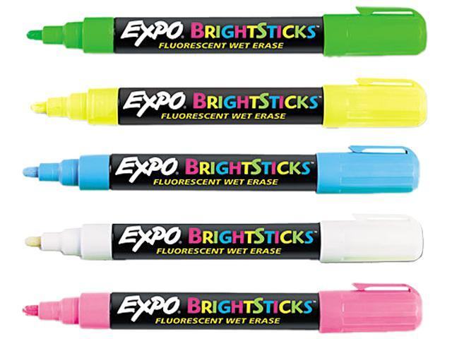 EXPO 14075 Bright Sticks Wet-Erase Fluorescent Marker Set, Bullet Tip, Assorted