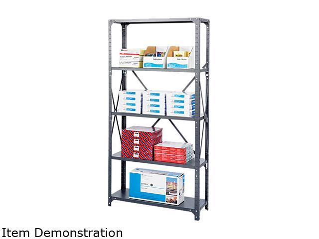 Safco 6266 Commercial Steel Shelving Unit, 5 Shelves, 36w x 18d x 75h, Dark Gray