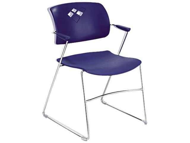 Safco 4286BU Veer Series Stacking Chair with Arms, Sled Base, Blue/Chrome, 4/Carton