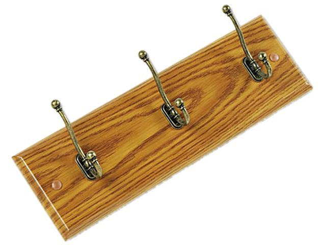 Safco 4216MO Wall Rack, Three Double-Hooks, Wood, Medium Oak