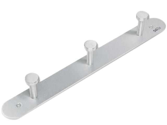Safco 4201 Nail Head Wall Coat Rack, Three Hooks, Metal, Satin Aluminum