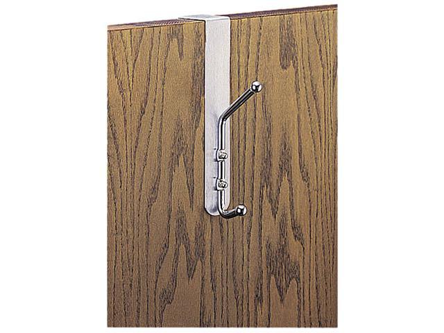 Safco 4166 Over-The-Door Double Coat Hook, Chrome-Plated Steel, Satin Aluminum Base