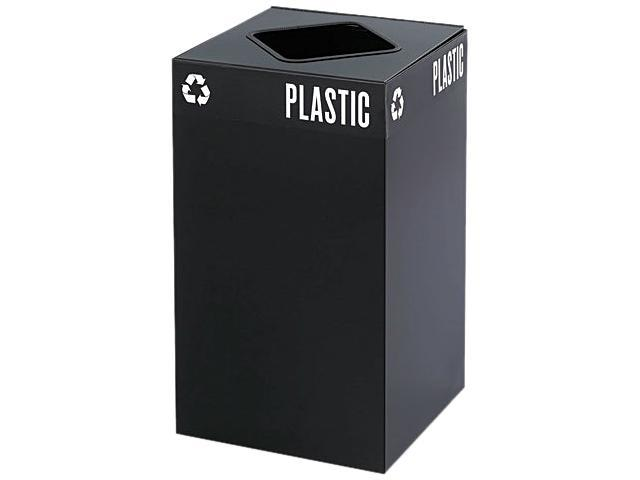 Safco 2981BL Public Square Recycling Container, Square, Steel, 25 gal, Black