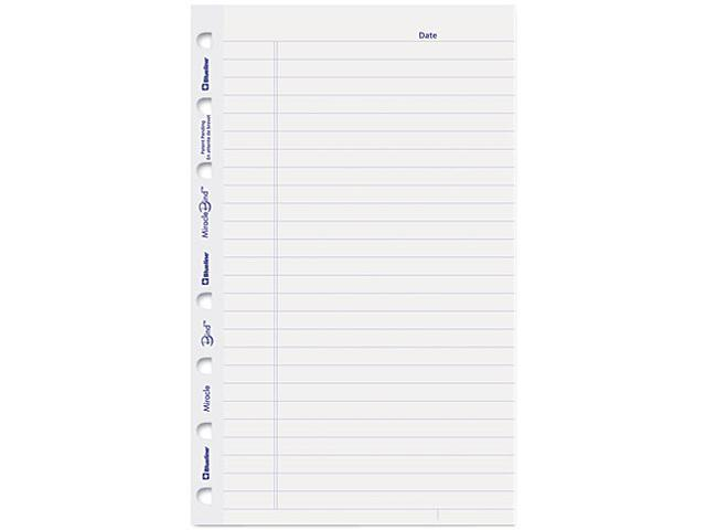 Blueline AFR6050R MiracleBind Notebook Ruled Paper Refill, 8 x 5, White, 25 Sheets/Pack