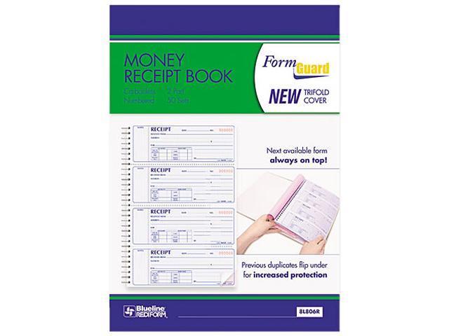 Rediform 8L806R Money Receipt Book, 2-3/4 x 7, Carbonless Duplicate, 200 Sets