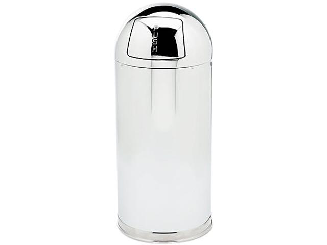 Rubbermaid Commercial R1536MCGL Fire-Resistant Dome Receptacle, Round, Steel, 15 gal, Mirror Stainless