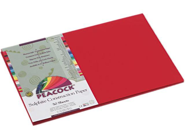 Pacon P9912 Peacock Sulphite Construction Paper, 76 lbs, 12 x 18, Holiday Red, 50 Sheets/Pk