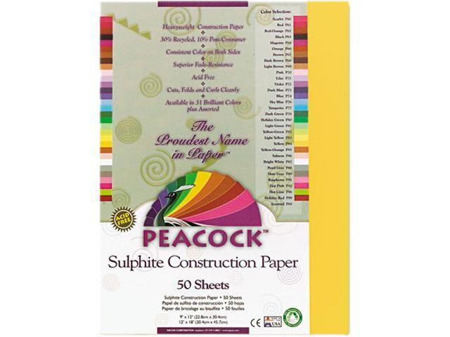 Pacon P9309 Peacock Sulphite Construction Paper, 76 lbs., 9 x 12, Gold, 50 Sheets/Pack