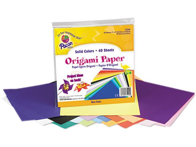 Pacon 72200 Origami Paper, 30 lbs., 9 x 9, Assorted Bright Colors, 40 Sheets/Pack