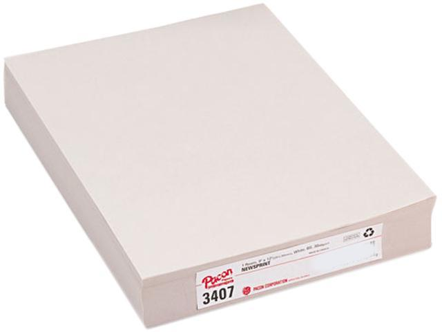 Pacon 3407 White Newsprint, 30 lbs., 9 x 12, White, 500 Sheets/Pack