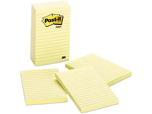 Post-it Notes 660-5PK Bonus Pack, 4 x 6, Lined, Canary Yellow, 5 100-Sheet Pads/Pack