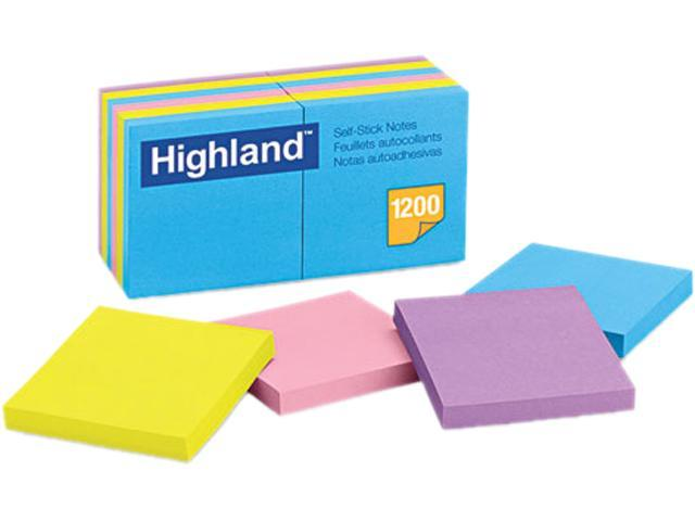 Highland 6549-B Sticky Note Pads, 3 x 3, Assorted, 100 Sheets