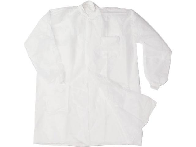Impact 7385XL Disposable Lab Coats, Spun-Bonded Polypropylene, XL, White, 30/Carton