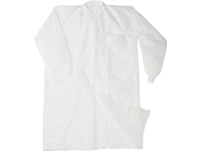 Impact 7385L Disposable Lab Coats, Spun-Bonded Polypropylene, Large, White, 30/Carton
