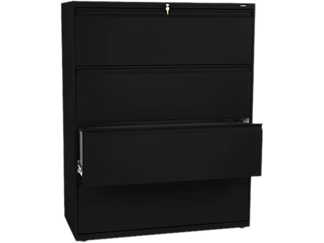 HON 894LP 800 Series Four-Drawer Lateral File, 42w x 19-1/4d x 53-1/4h, Black