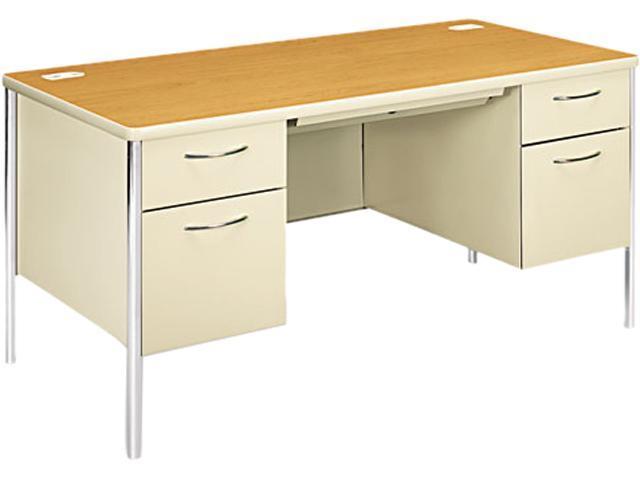 Mentor Series Double Pedestal Desk, 60w x 30d x 29-1/2h, Harvest/Putty