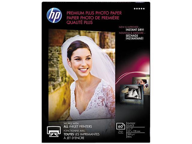 Hewlett-Packard CR669A Premium Plus Photo Paper, 80 lbs., Glossy, 5 x 7, 60 Sheets/Pack