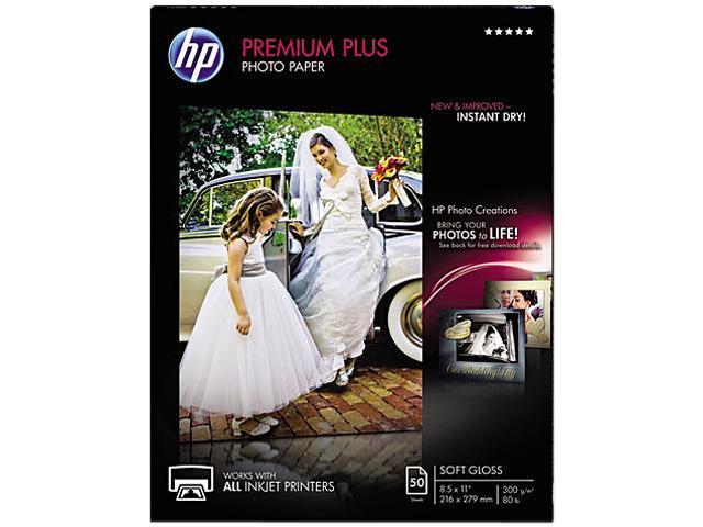 Hewlett-Packard CR667A Premium Plus Photo Paper, 80 lbs., Soft-Gloss, 8-1/2 x 11, 50 Sheets/Pack