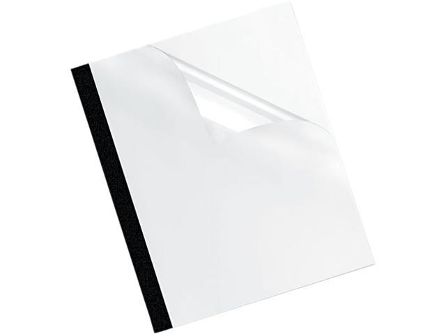 5222701 Fellowes Thermal Binding System Covers, 30 Sheets, 11-1/8 x 9-3/4, Clear/Black, 10/Pack