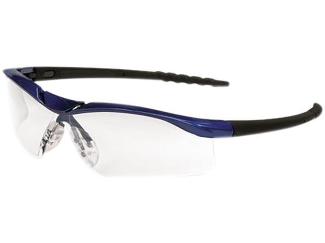 Crews DL310AF Dallas Wraparound Safety Glasses, Metallic Blue Frame, Clear AntiFog Lens