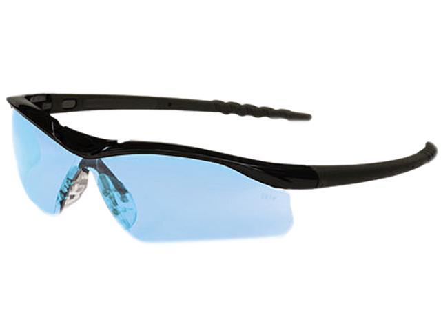 Crews DL113 Dallas Wraparound Safety Glasses, Black Frame, Light Blue Lens