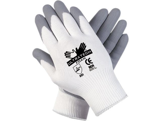 Memphis 9674M Ultra Tech Foam Seamless Nylon Knit Gloves, Medium, White/Gray