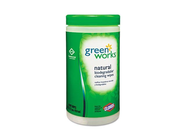 Clorox 30380 Green Works Natural Wipes, Plant Fiber, 7 x 7 1/2, White, 62/Canister