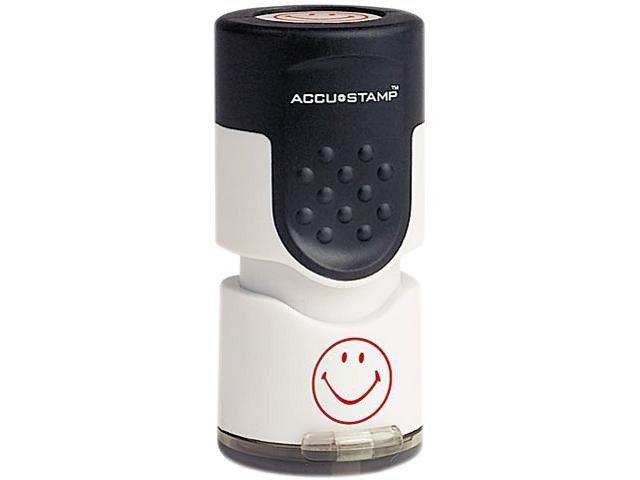 ACCUSTAMP 030725 Accustamp Pre-Inked Round Stamp with Microban, Smiley, 5/8