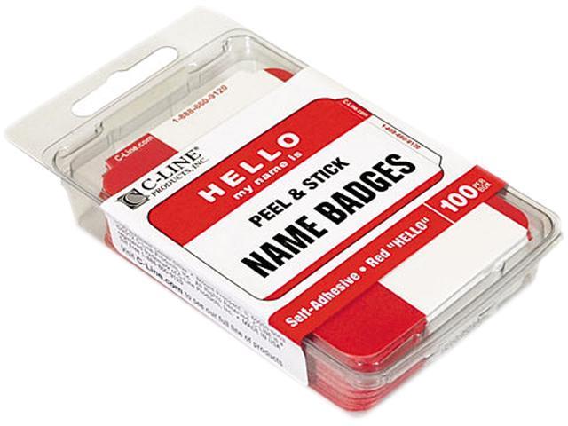 C-line 92234 Pressure Sensitive Hello Name Badges, 2-1/4 x 3-1/2, Red, 100/Box