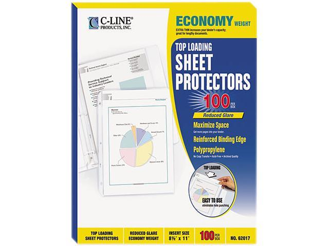C-line 62017 Top-Load Poly Sheet Protectors, Economy Gauge, Ltr, Reduced-Glare, 100/Box
