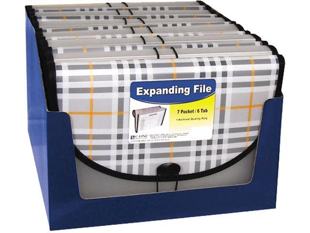 C-line 58012 Expanding File, Plaid, Letter, 7 Pockets, 1.5