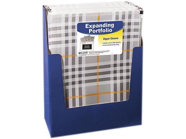 C-line 48012 ZipNGo Expanding Portfolio, Letter, 13 Pockets, Plaid/Clear, 1/EA