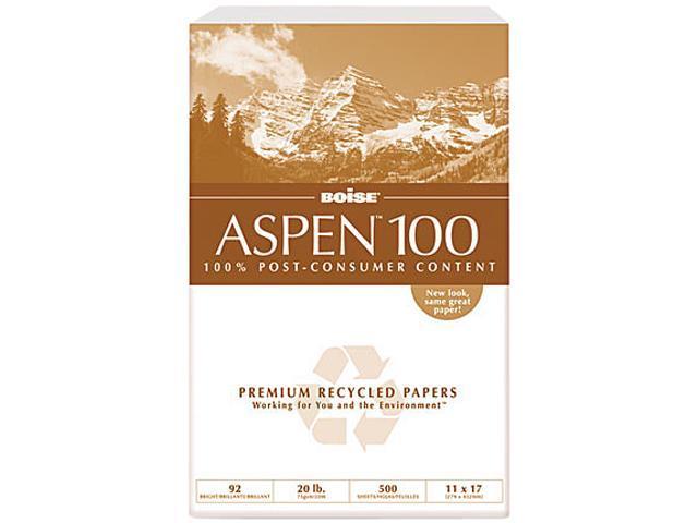 Boise 054925 ASPEN 100% Recycled Office Paper, 92 Bright, 20lb, 11 x 17, White, 2500/Carton