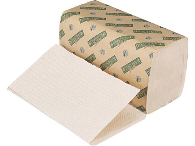Boardwalk 12GREEN Green Folded Towels, Single-Fold, Natural White, 9W x 10L, 268/Pack, 15/Carton