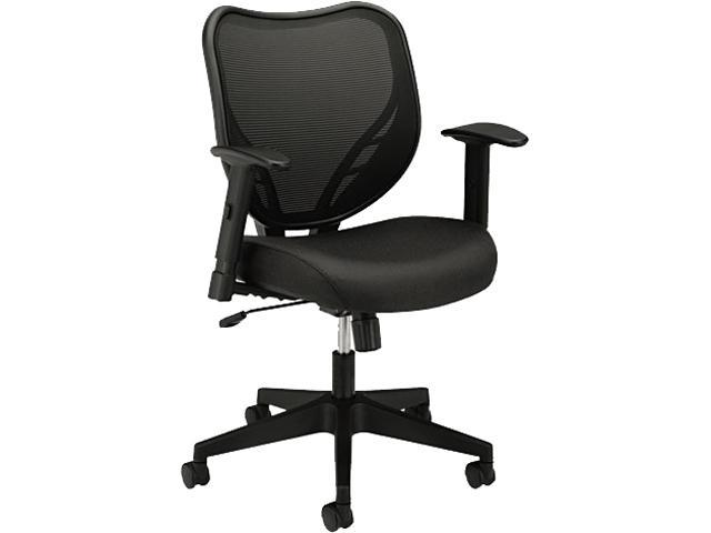 basyx VL551VB10 VL551 Mid-Back Swivel/Tilt Chair, Fabric Seat, Mesh Back, Black