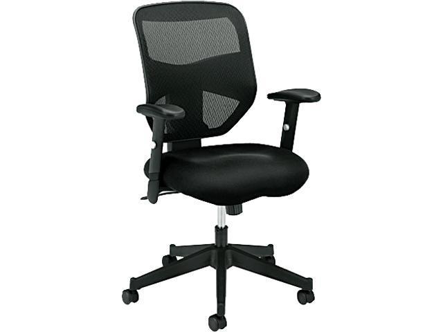 basyx VL531MM10 VL531 High-Back Work Chair, Mesh Back, Padded Mesh Seat, Black